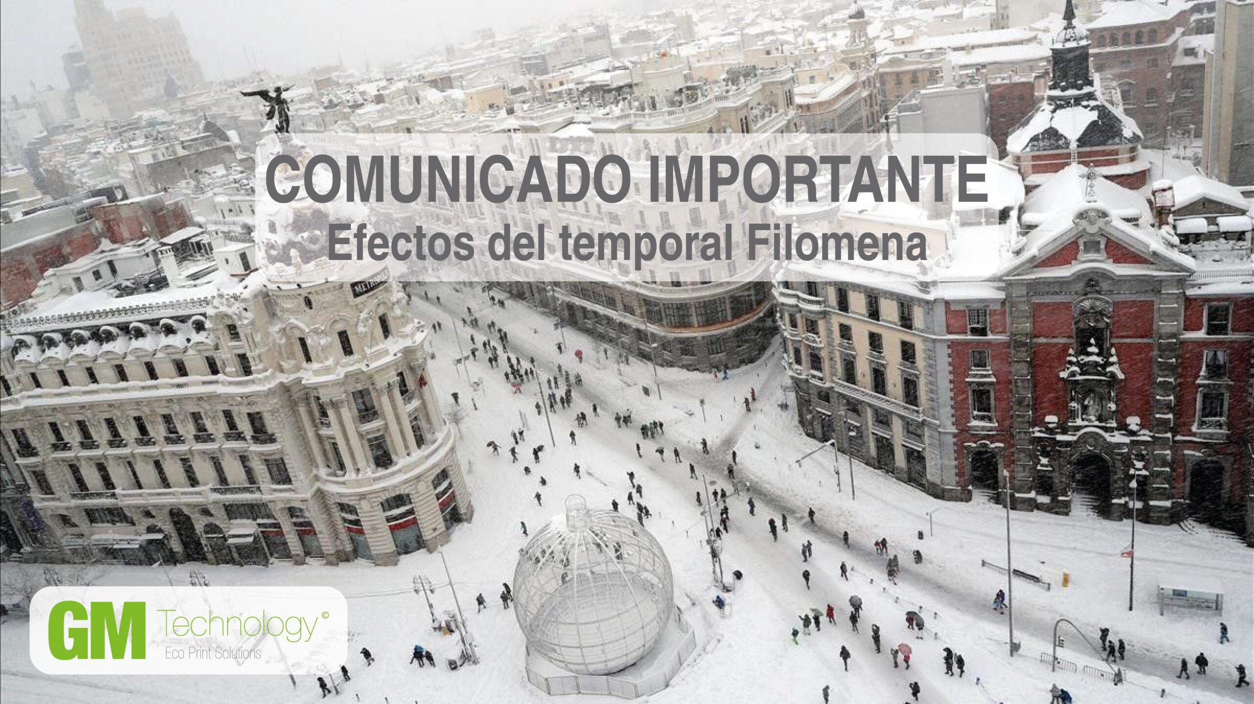 Comunicado Especial: Temporal Filomena